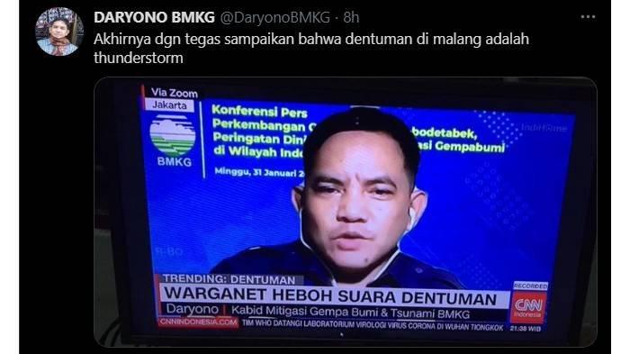 Daryono pihak BMKG mengurai penyebab pasti dentuman misterius di Malang