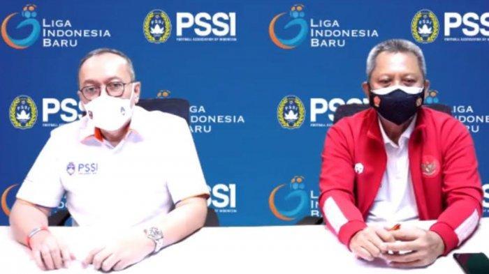 Direktur Utama PT LIB, Akhmad Hadian Lukita dan Direktur Operasional, Irjen Pol (P) Drs. Sudjarno saat virtual meeting, Rabu (4/8/2021) malam.