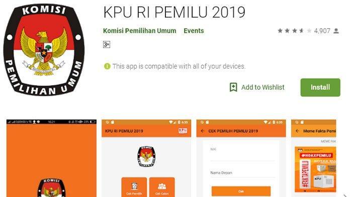 Cara Pastikan Hak Pilih dalam DPT Lewat Aplikasi KPU RI Pemilu 2019 di Google Play Store
