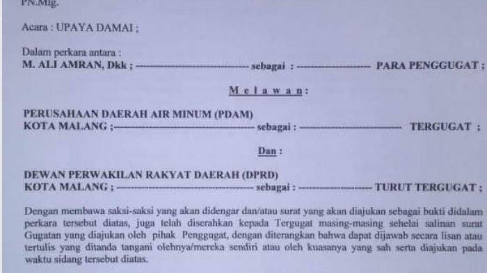 2 Korban Terdampak Krisis Air Bersih Gugat Perdata PDAM Kota Malang & DPRD Kota Malang