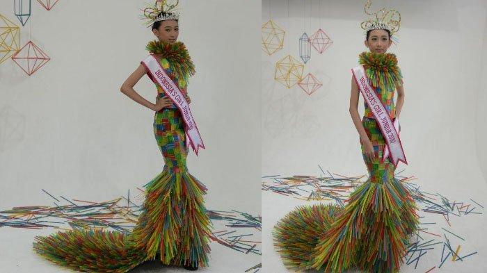 Kostum Bergaya Mermaid dari Sedotan Bekas Hasil Kolaborasi Dylla Rahma Febriani dan Embran Nawawi