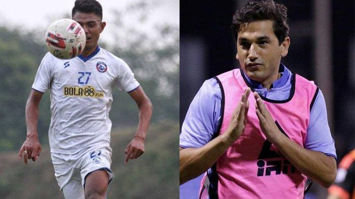 Eduardo Almeida pelatih baru Arema FC (kanan) dan pemain Arema FC menggiring bola (kiri)