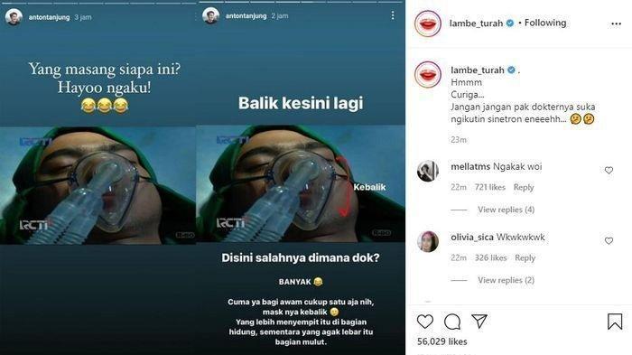 Episode Aldebaran kritis dan ventilator terbalik di-repost akun Instagram Lambe Turah