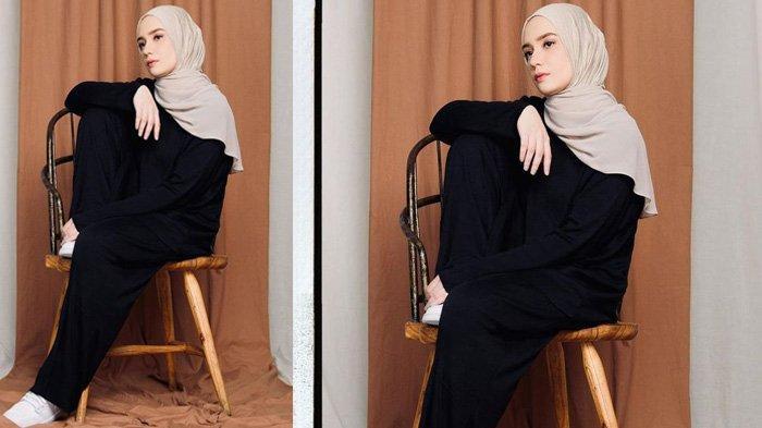 Fashion hijab modis Putri Anne istri Arya Saloka bernunasa warna monokrom