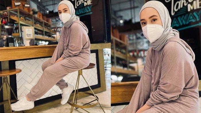 Fashion hijab modis Putri Anne istri Arya Saloka tampil bergaya sporty dengan busana berwarna pastel