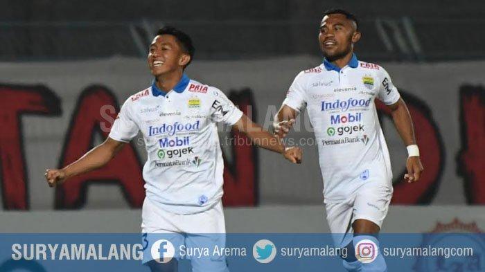 Febri Hariyadi saat merayakan golnya ke gawang Madura United, Sabtu (4/10/2019). Wasit di Laga Madura United Vs Persib Bandung ini resmi dilaporkan