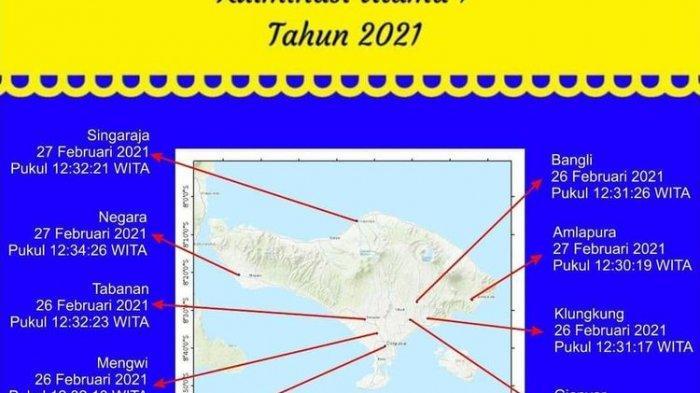 Jadwal Lengkap Hari Tanpa Bayangan di Bali pada 26 dan 27 Februari 2021