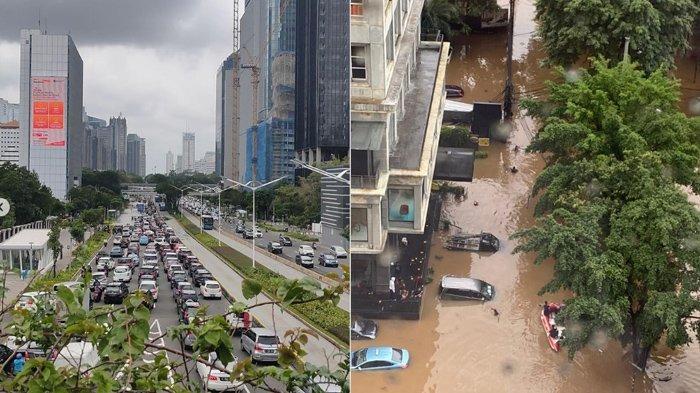 Foto-foto Banjir Jakarta Hari Ini, Jalan Tol dan Jalan Raya Tergenang, Hingga Malam Diprediksi Hujan