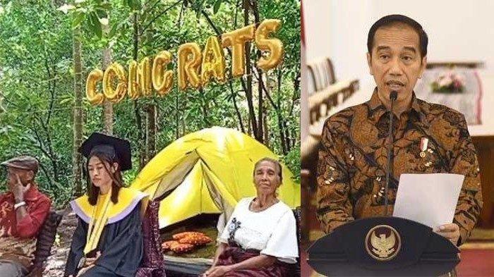 Foto Mahasiswi Wisuda online di Hutan Viral, Terpaksa Demi Sinyal, Wabup Sampai Mohon ke Jokowi