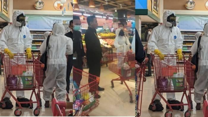 FOTO Viral Suami Istri Belanja Pakai Baju Hazmat, Bikin Panik Pengunjung, Diusir Satpam Gak Mempan