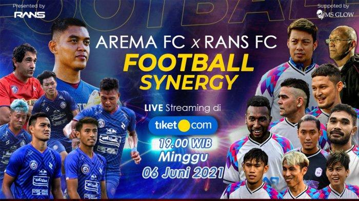 Gambar poster Arema FC vs RANS Cilegon FC laga uji coba Minggu 6 Juni 2021 di Kanjuruan, Malang