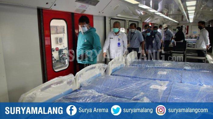 Gerbong KA yang disiapkan jadi ruang isolasi Covid-19 di Madiun. Ada tiga trainset dengan total 24 gerbong yang rencananya akan digunakan sebagai tempat isolasi.  Rinciannya 18 gerbong untuk pasien dan enam gerbong untuk tenaga medis dan kesehatan.
