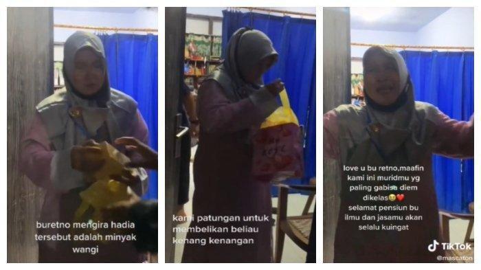 Guru SMA Negeri 1 Giri Banyuwangi, Jawa Timur dapat hadiah handphone dari murid-muridnya