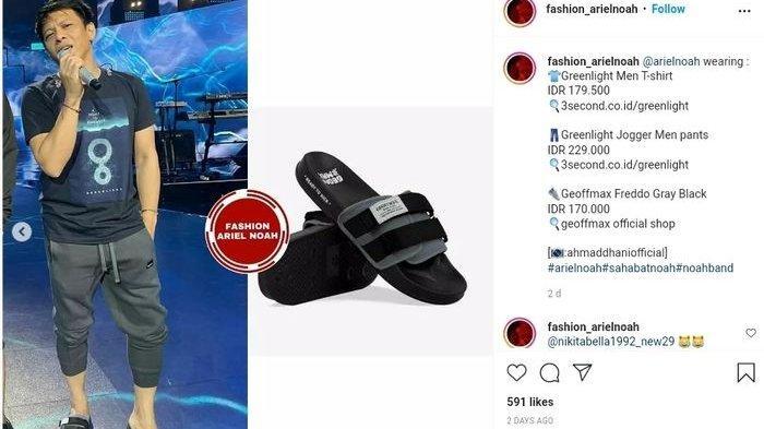 Harga sandal selop Ariel Noah merek Geoffmax Freddo Gray Black seharga Rp 170.000