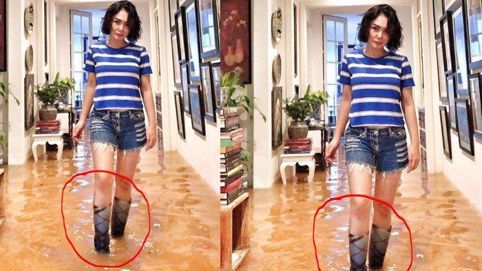 Harga Sepatu Boots Yuni Shara Untuk Mejeng saat Banjir Jakarta, Pantas Kakak KD Gak Takut Banjir