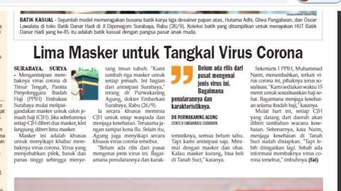 Harian Surya 27 September 2012 memberitakan tentang virus corona dengan judul: Lima Masker untuk Tangkap Virus Corona.