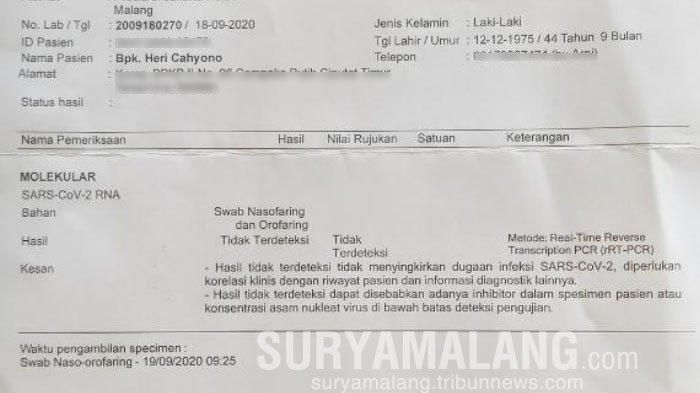 Hasil Tes Swab Calon Perseorangan Pilbup Malang 2020, Heri Cahyono