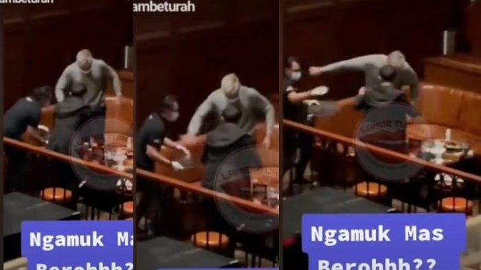 Cuplikan video Robby Purba dorong pelayan perempuan di restoran