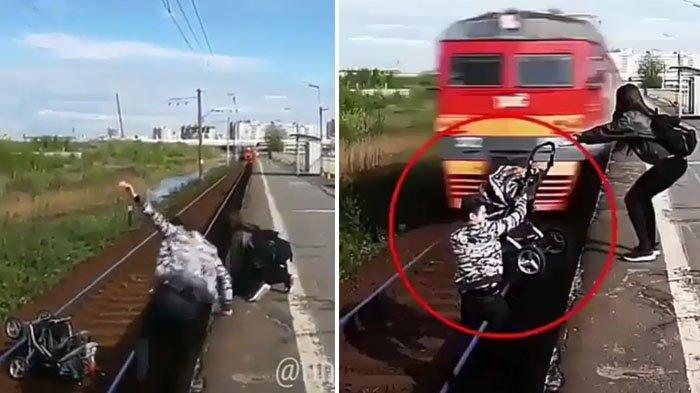 VIDEO - Selamatkan Kereta Bayi Tergelincir, dalam Sedetik Saja Pria ini Nyaris Terlindas Kereta Api!
