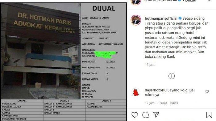 Hotman Paris jual rumah tiga lantai miliknya (Instagram).