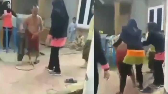 Ibu ibu senam meredam amarah pria mengamuk banting kompor