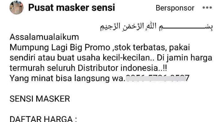 Tergiur Masker Murah, Cewek Surabaya Ini Malah Kena Tipu Rp 2,5 Juta