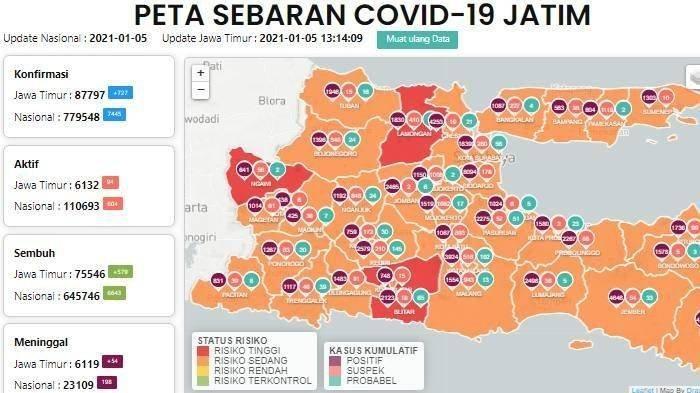 Ilustrasi peta zona merah Jatim Lamongan dan Ngawi Merah, Malang Zona Oranye