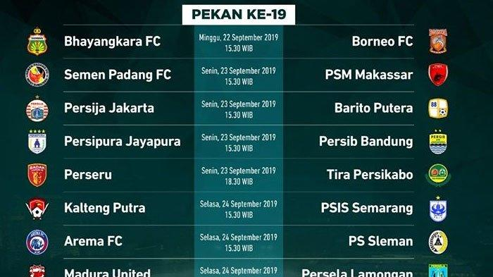 Jadwal Acara SCTV TRANS TV GTV RCTI Indosiar TVONE Hari Senin 23 September 2019 Persib Bandung Main