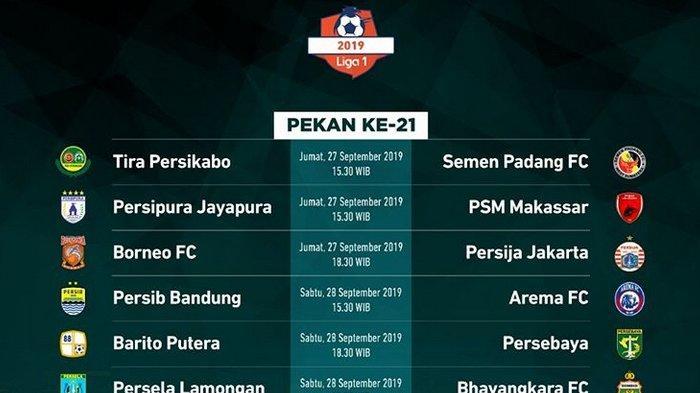 Jadwal Acara SCTV TRANS TV GTV RCTI Indosiar TVONE Jumat 27 September 2019, Borneo FC VS Persija