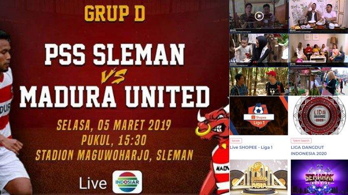 Jadwal Acara SCTV TRANS TV GTV RCTI Indosiar tvOne, Minggu 29 September, PSS SLEMAN vs MADURA UNITED