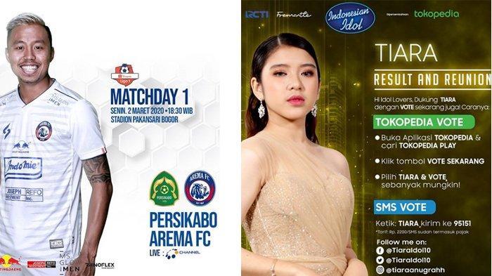 Jadwal Acara SCTV RCTI Indosiar MNC GTV Senin 2 Maret 2020: Ada FTV & PS Tira Persikabo vs Arema FC