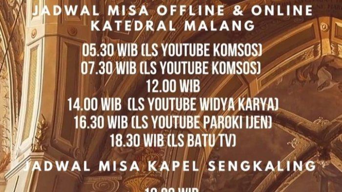 Jadwal Misa Rabu Abu Gereja Katedral Ijen Kota Malang