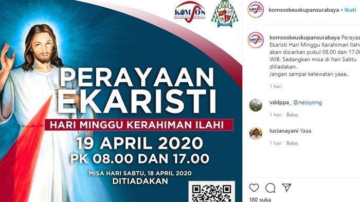 LINK YouTube Misa Online Minggu Paskah Ke 2 19 April 2020 Gereja Katolik Keuskupan Surabaya