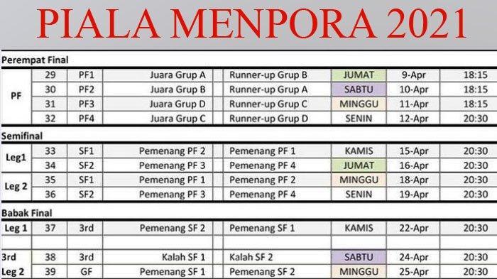 Jadwal Terbaru Piala Menpora 2021, Semifinal dan Final Digelar Dua Leg