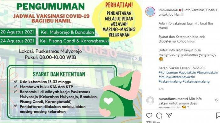 Jadwal vaksin di Malang bagi ibu hamil