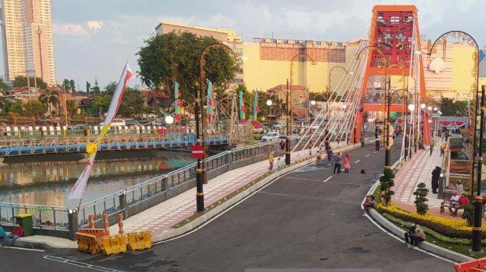 Tempat Wisata Baru di Surabaya, Atraksi Air Mancur Percantik Jembatan Sawunggaling