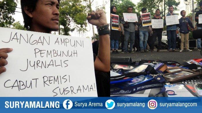 Tuntut Cabut Grasi untuk Pembunuh Jurnalis, Wartawan Malang Raya Gelar Aksi Jalan Mundur