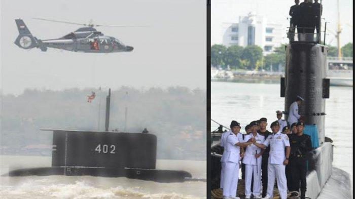 FOTO DOK. Kapal Selam KRI Nanggala 402 saat melakukan atraksi di HUT TNI tahun 2014 dan suasana serah terima jabatan komandan kapal di tahun 2019