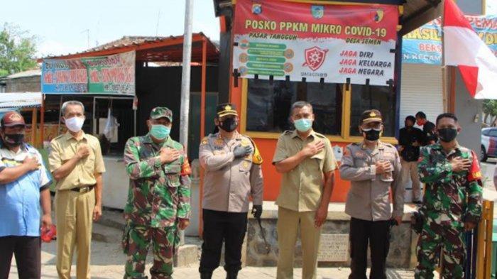 Kapolres Kediri Kota AKBP Wahyudi Kunjungi Posko PPKM Mikro Pasar Semen