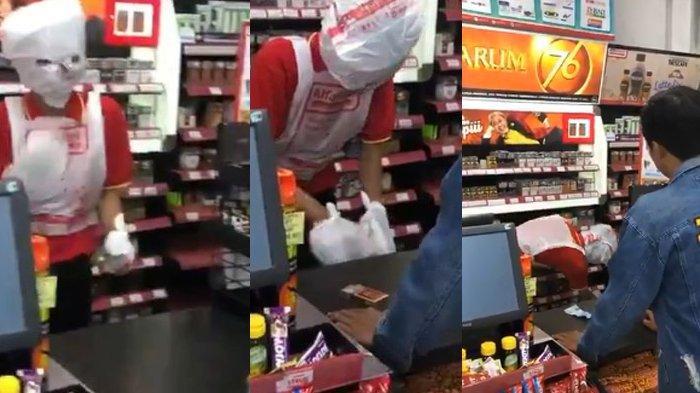 Aksi Kocak Kasir Minimarket Viral, Heboh Virus Corona Pakai Masker dari Kresek, Pembeli Kebingungan