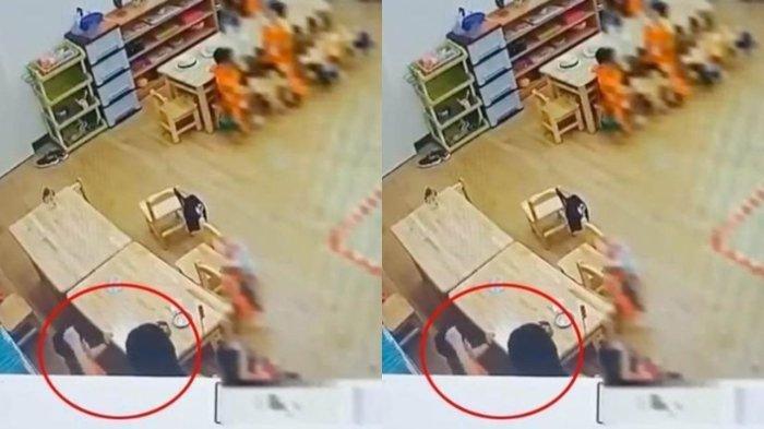Kejam! Guru TK Tega Aniaya Murid Saat di Sekolah Terekam CCTV, Mulut Balita 3 Tahun Sampai Berdarah