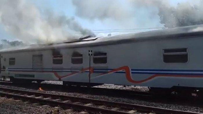 Detik-detik Kereta Pembangkit KA Gajayana Lebaran Terbakar di Stasiun Nganjuk