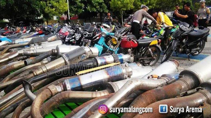 Polresta Malang Kota Sita 50 Kendaraan Berknalpot Brong dalam Razia Sejak Mei 2021