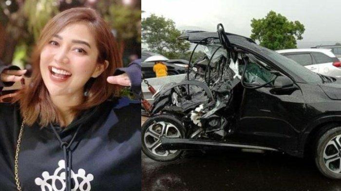 Kondisi mobil diduga milik Chacha Sherly kecelakaan di Tol Semarang