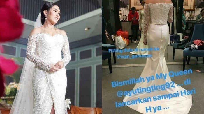 Ayu Ting Ting saat memakai gaun pernikahan untuk sebuah acara