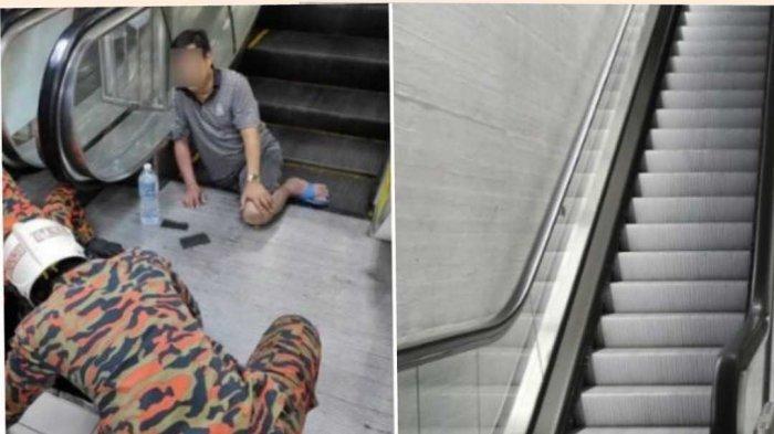Kronologi Menegangkan Pria Terjepit Eskalator Karena Sandal Jepit, Kaki Kanannya Masuk ke Dalam
