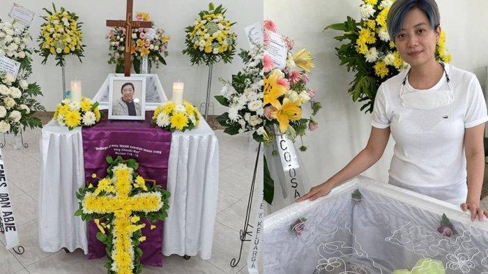 Leony foto di samping peti mati sang ayah yang meninggal dunia Selasa 15 Juni 2021