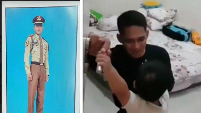 Foto Lettu Laut (P) Imam Adi semasa menjalani Akademi dan foto tangkap layar dari video viral yang menunjukkan eks mahasiswa UB itu ketika dikancing (dikunci) di kamar oleh anaknya sebelum berlayar bersama KRI Nanggala 402