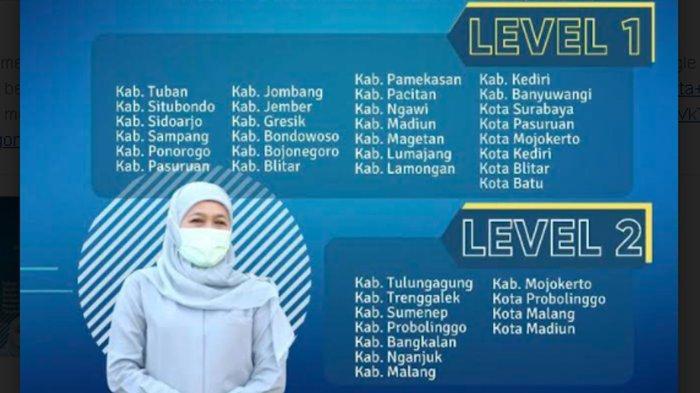 Kota Batu Masuk Level 1, Ini 27 Kabupaten / Kota di Jatim yang Masuk Level 1 Karena Kasus Menurun