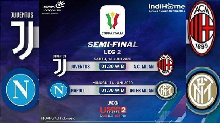Link Live Streaming Juventus vs AC Milan Semifinal Coppa Italia Leg 2 di TVRI & Usee TV 13 Juni 2020